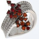 Ring with brilliants on 4 bands and sapphires of various colors