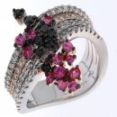 Ring with brilliants on 4 bands and sapphires pink and blacks